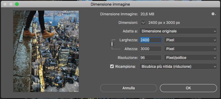 Finestra di dialogo Dimensione immagine di Photoshop