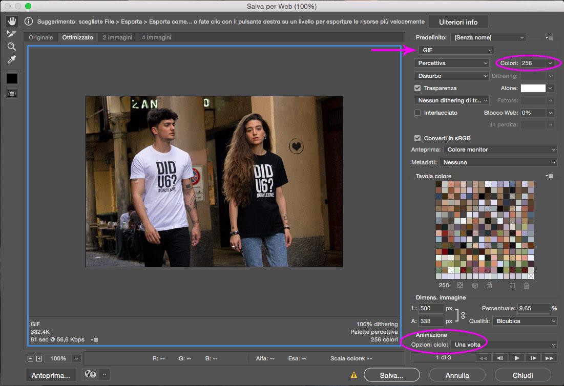 Salva per web - Animazione Gif Photoshop
